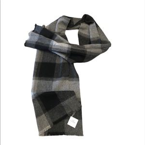 NWT COACH Wool Cashmere Checked Plaid Chunky Scarf